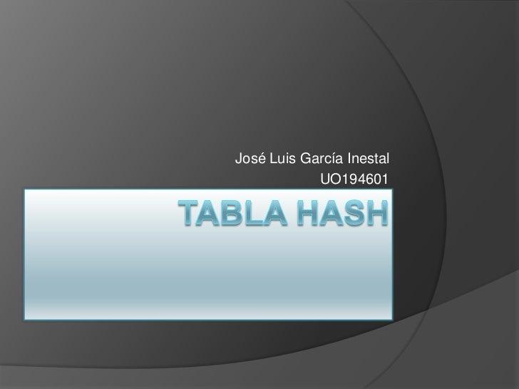 TABLA HASH<br />José Luis García Inestal<br />UO194601<br />
