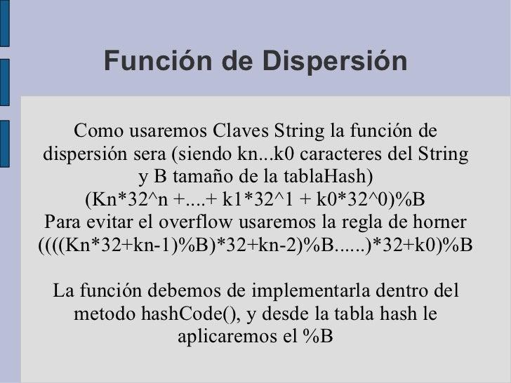Función de Dispersión Como usaremos Claves String la función de dispersión sera (siendo kn...k0 caracteres del String y B ...