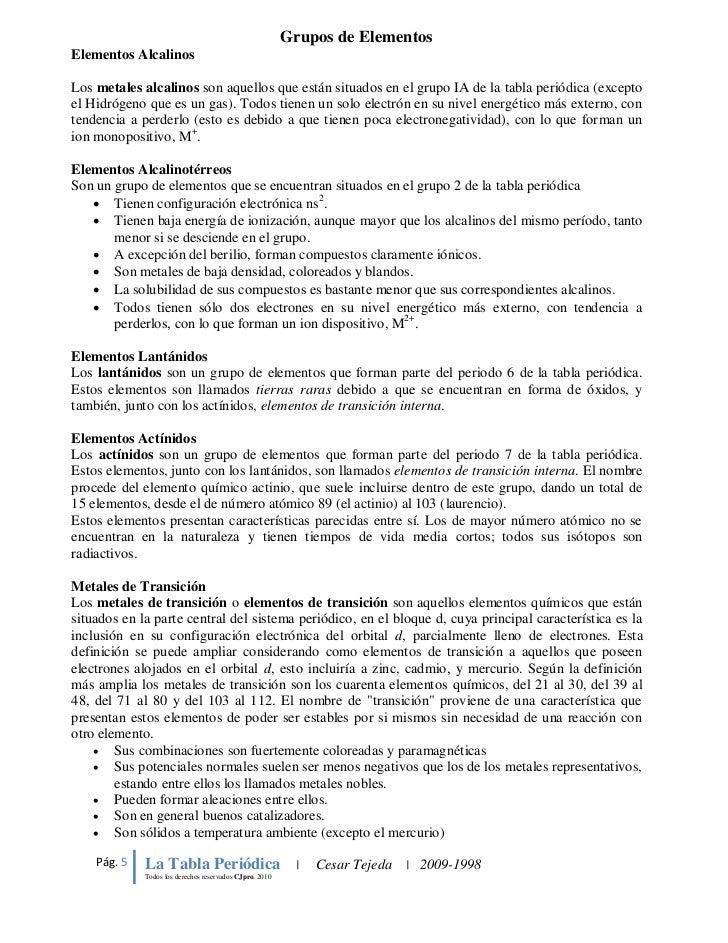2010 5 grupos de elementos - Ubicacion De Los Elementos En La Tabla Periodica Pdf