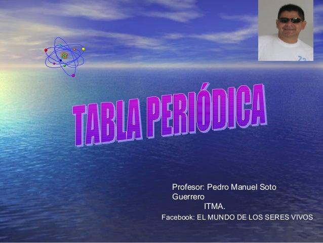 Profesor: Pedro Manuel Soto Guerrero ITMA. Facebook: EL MUNDO DE LOS SERES VIVOS