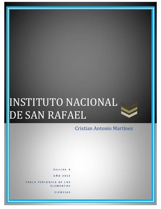 INSTITUTO NACIONAL DE SAN RAFAEL S e c c i ó n A A Ñ O 2 0 1 3 T A B L A P E R I O D I C A D E L O S E L E M E N T O S C I...