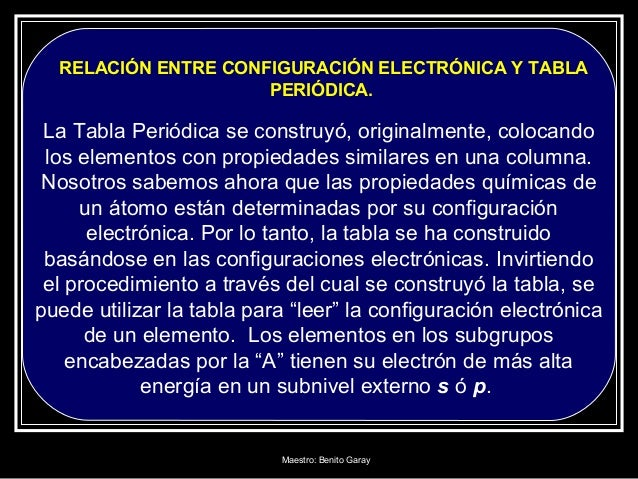 maestro benito garay 52 relacin entre configuracin electrnica y tabla peridica - Tabla Periodica En Configuracion Electronica