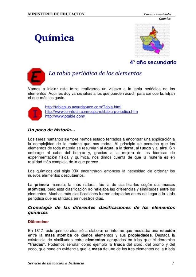ministerio de educacin temas y actividades qumica servicio de educacin a distancia 1 la tabla peridica - Tabla Periodica Lenntech