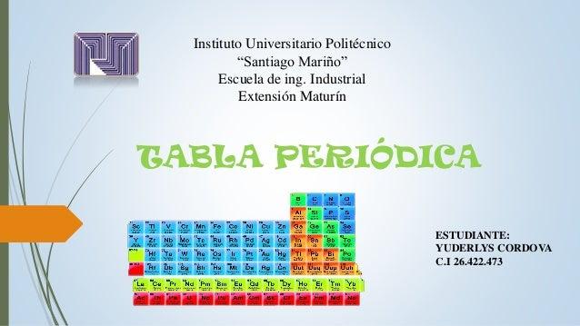 Tabla periodica tabla peridica instituto universitario politcnico santiago mario escuela de ing industrial extensin maturn urtaz Images