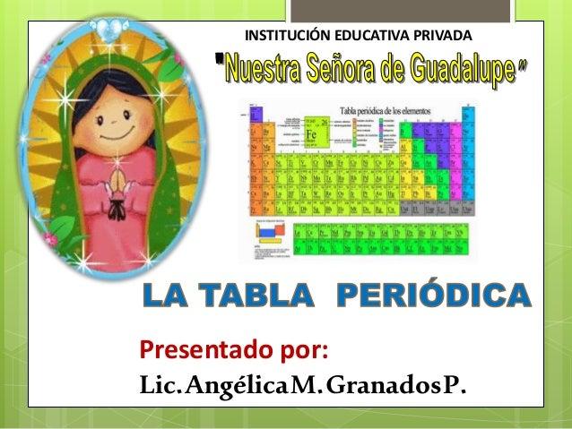 Tabla periodica tabla periodica institucin educativa privada presentado por licglicamanadosp urtaz Choice Image