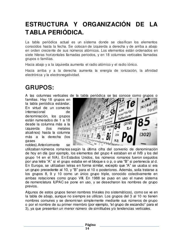 tabla - Tabla Periodica Welch