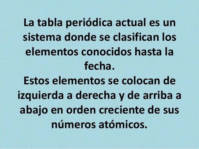 Los elementos están ordenados en 7 hileras horizontales llamadas periodos, y en 18 columnas verticales llamadas grupos o f...