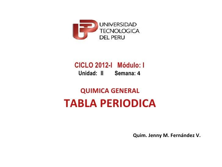 CICLO 2012-I Módulo: I  Unidad: II   Semana: 4  QUIMICA GENERALTABLA PERIODICA                     Quim. Jenny M. Fernánde...