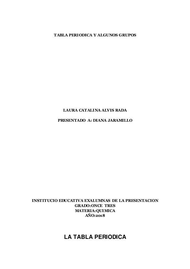 tabla periodica y algunos grupos laura catalina alvis rada presentado a diana jaramillo institucio educativa