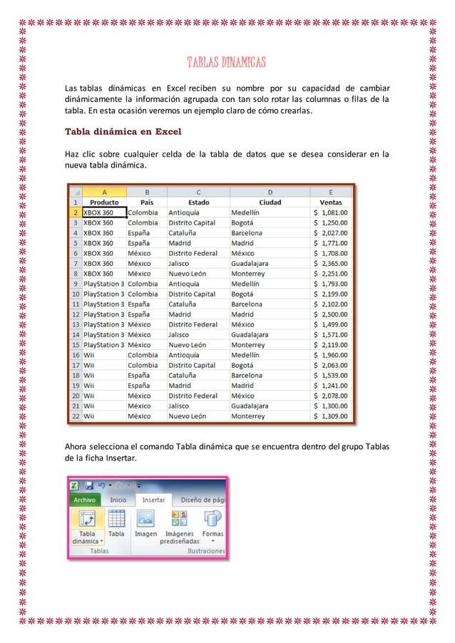 TABLAS DINAMICAS Las tablas dinámicas en Excel reciben su nombre por su capacidad de cambiar dinámicamente la información ...
