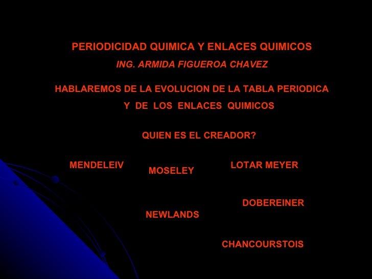 PERIODICIDAD QUIMICA Y ENLACES QUIMICOS ING. ARMIDA FIGUEROA CHAVEZ HABLAREMOS DE LA EVOLUCION DE LA TABLA PERIODICA Y  DE...