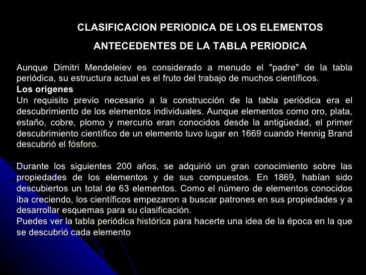 Tablas peridicas y enlaces qumicos mendeleiv lotar meyer moseley newlands dobereiner chancourstois 2 clasificacion periodica de los elementos antecedentes de la tabla urtaz Gallery