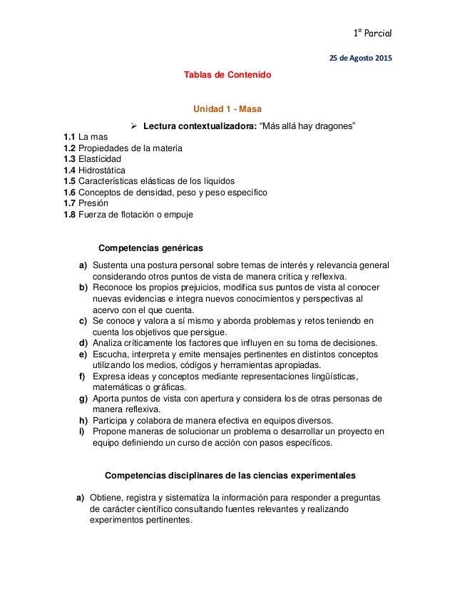 """1° Parcial 25 de Agosto 2015 Tablas de Contenido Unidad 1 - Masa  Lectura contextualizadora: """"Más allá hay dragones"""" 1.1 ..."""