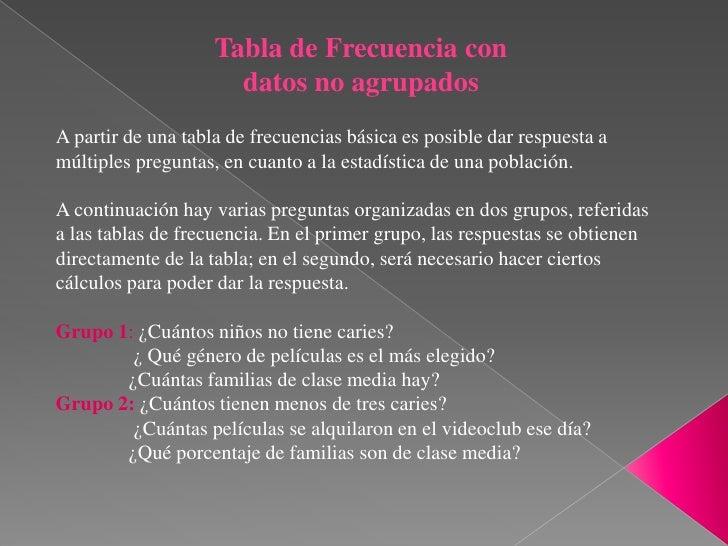 Tabla de Frecuencia con                      datos no agrupadosA partir de una tabla de frecuencias básica es posible dar ...