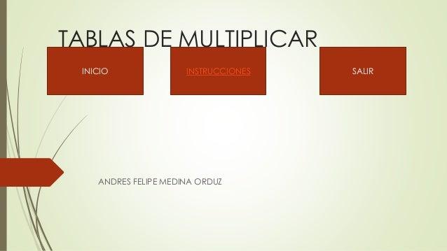 TABLAS DE MULTIPLICAR ANDRES FELIPE MEDINA ORDUZ INICIO INSTRUCCIONES SALIR
