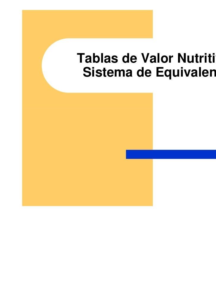 Tablas de Valor Nutritivo y Sistema de Equivalentes
