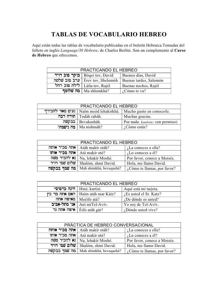 TABLAS DE VOCABULARIO HEBREOAquí están todas las tablas de vocabulario publicadas en el boletín Hebraica.Tomadas delfollet...