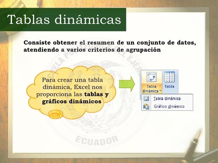 Consiste obtener el resumen de un conjunto de datos, atendiendo a varios criterios de agrupación   Tablas dinámicas Para c...