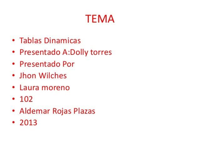 TEMA• Tablas Dinamicas• Presentado A:Dolly torres• Presentado Por• Jhon Wilches• Laura moreno• 102• Aldemar Rojas Plazas• ...