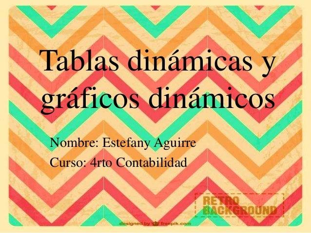 Tablas dinámicas y gráficos dinámicos Nombre: Estefany Aguirre Curso: 4rto Contabilidad