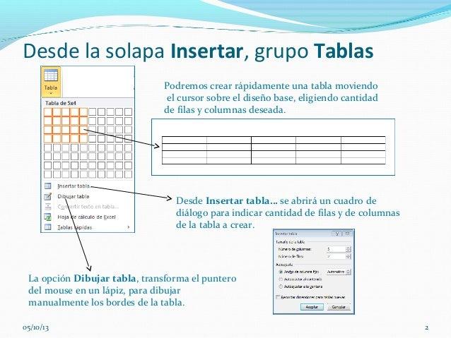 Desde la solapa Insertar, grupo Tablas La opción Dibujar tabla, transforma el puntero del mouse en un lápiz, para dibujar ...