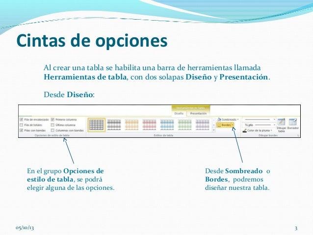 Cintas de opciones Al crear una tabla se habilita una barra de herramientas llamada Herramientas de tabla, con dos solapas...