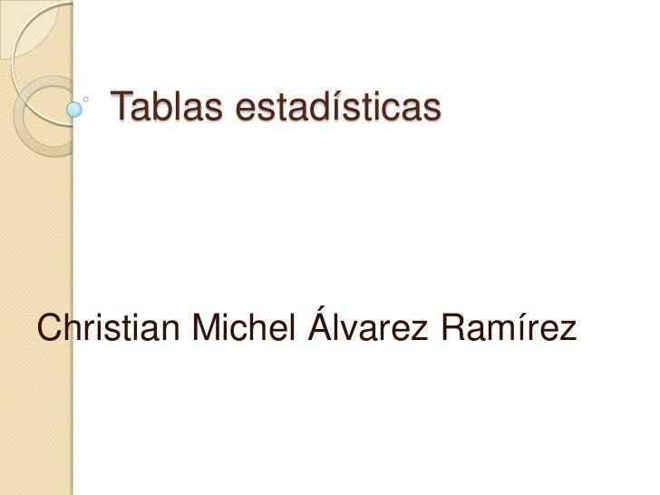 Tablas estadísticasChristian Michel Álvarez Ramírez