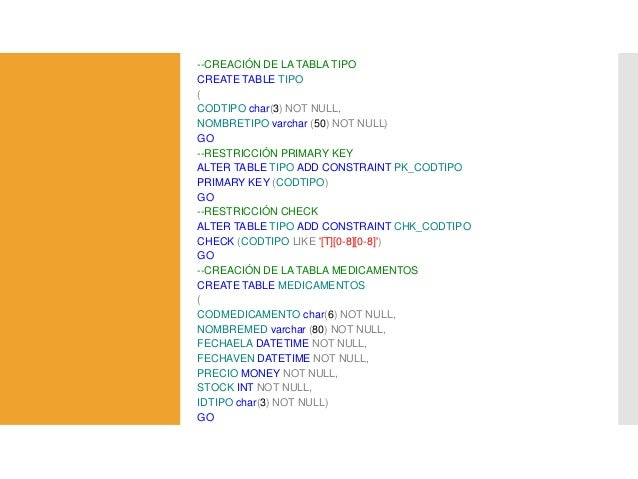 Tablas y tipos de datos - Alter table add constraint primary key ...