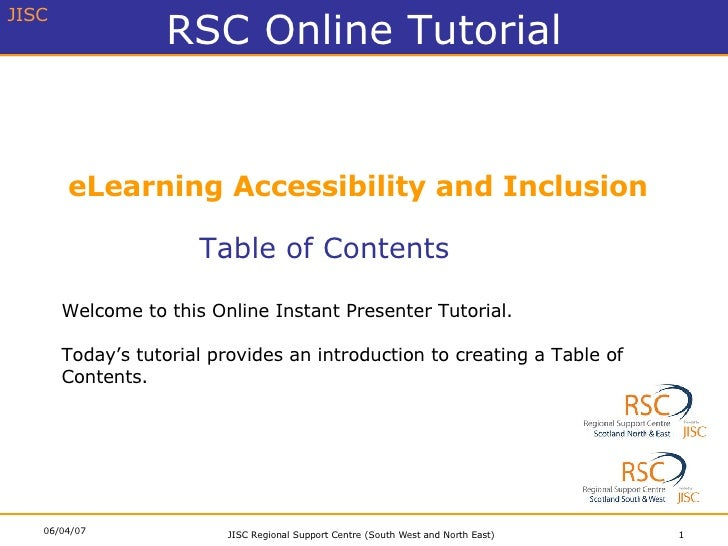 eLearning Accessibility and Inclusion Table of Contents Welcome to this Online Instant Presenter Tutorial. Today's tutoria...