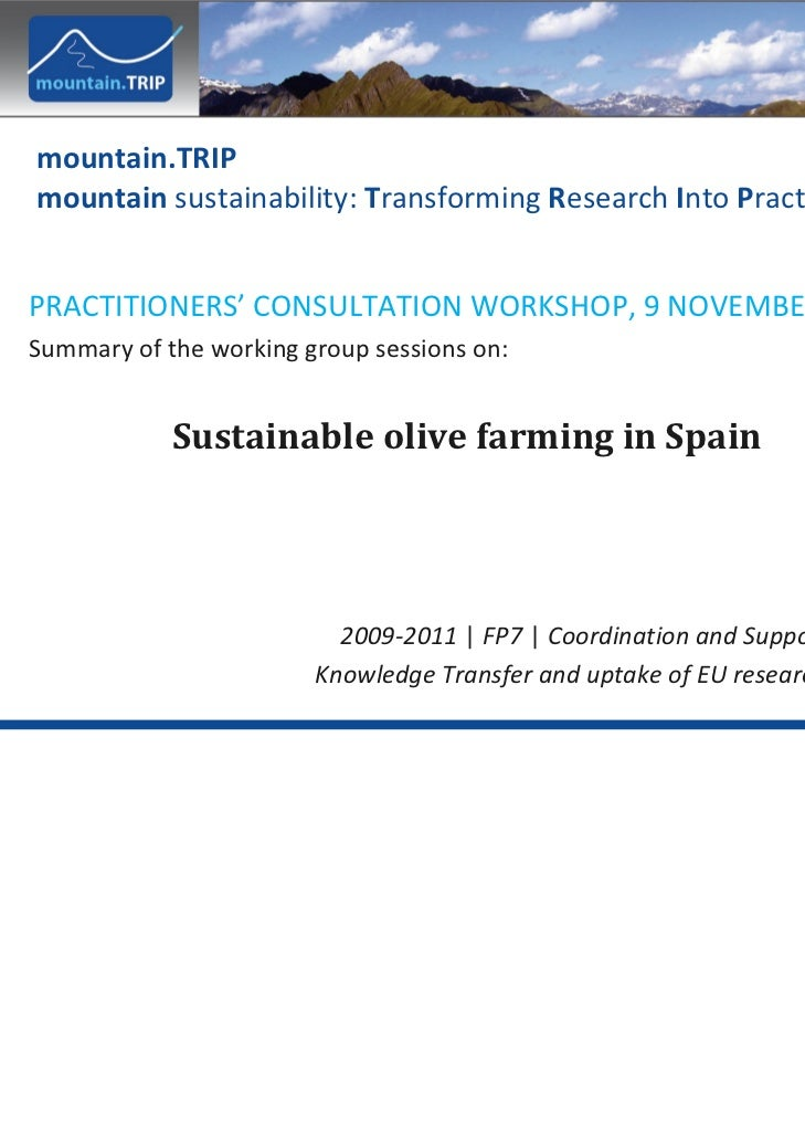 mountain.TRIP mountain sustainability: Transforming Research Into PracticePRACTITIONERS' CONSULTATION WORKSHOP, 9 NOVEMBER...