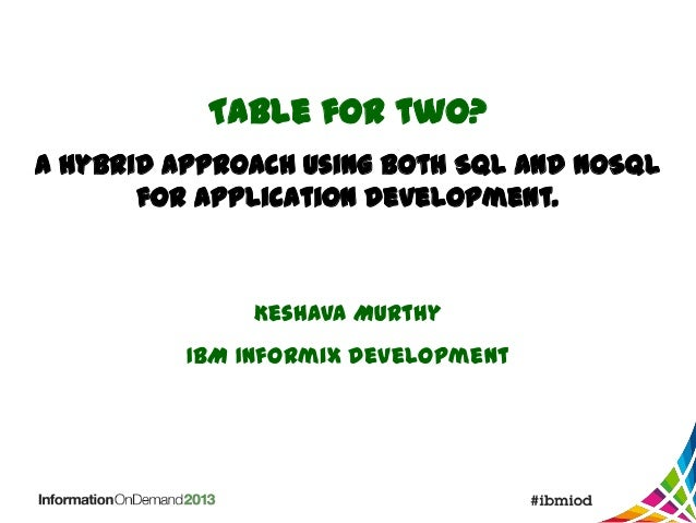Table for two? A hybrid approach using both SQL and NoSQL for application development.  Keshava Murthy IBM Informix develo...