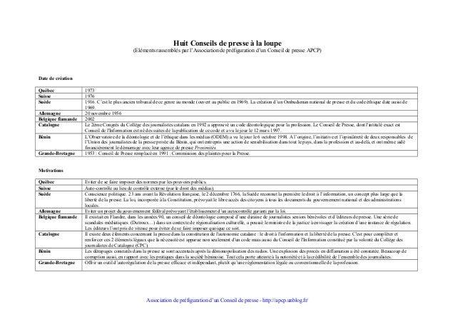 Huit Conseils de presse à la loupe (Eléments rassemblés par l'Association de préfiguration d'un Conseil de presse APCP)  D...