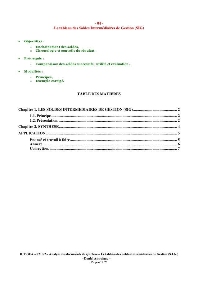 IUT GEA – 821 S2 – Analyse des documents de synthèse – Le tableau des Soldes Intermédiaires de Gestion (S.I.G.) – Daniel A...