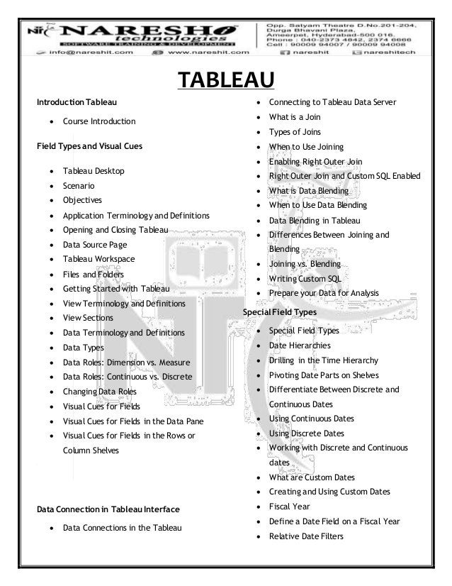 TABLEAU Introduction Tableau  Course Introduction Field Types and Visual Cues  Tableau Desktop  Scenario  Objectives ...