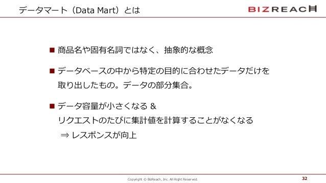 Copyright © BizReach, Inc. All Right Reserved. データマート(Data Mart)とは n 商品名や固有名詞ではなく、抽象的な概念念 n データベースの中から特定の⽬目的に合わ...