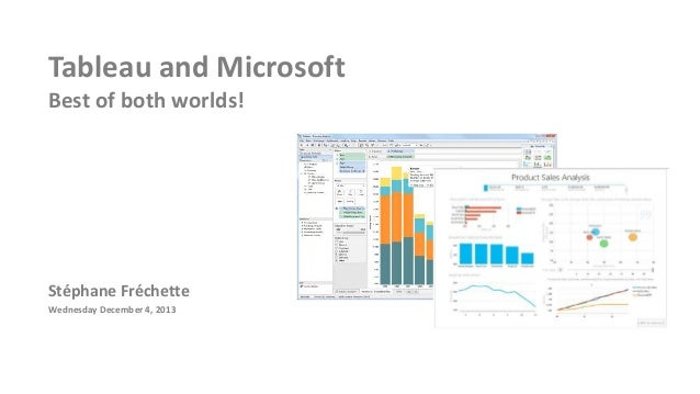 Tableau and Microsoft Best of both worlds!  Stéphane Fréchette Wednesday December 4, 2013
