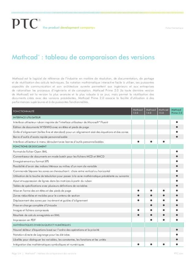 Fiche thématique PTC.comPage 1/4 | Mathcad® : tableau de comparaison des versions Mathcad est le logiciel de référence de...