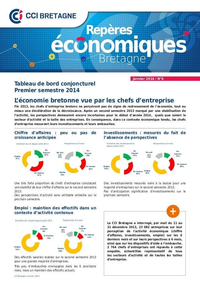 Janvier 2014 / N°6  Tableau de bord conjoncturel Premier semestre 2014  L 'économie bretonne vue par les chefs d'entrepris...