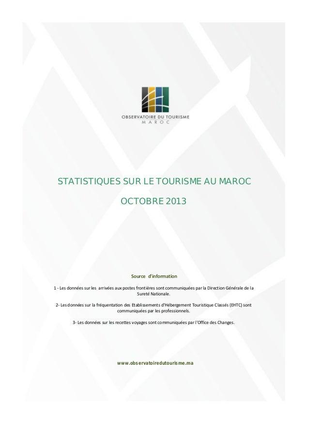 -1 000 000 -800 000 -600 000 -400 000 -200 000 0 STATISTIQUES SUR LE TOURISME AU MAROC POUR LE MOIS D'OCTOBRE 2013 Durant ...