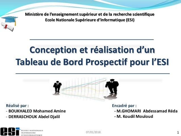 07/01/2018 1 Ministère de l'enseignement supérieur et de la recherche scientifique Ecole Nationale Supérieure d'Informatiq...