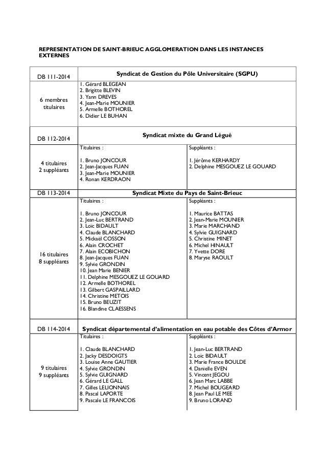 REPRESENTATION DE SAINT-BRIEUC AGGLOMERATION DANS LES INSTANCES EXTERNES DB 111-2014 Syndicat de Gestion du Pôle Universit...