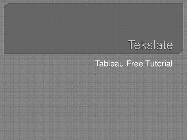 Tableau Free Tutorial