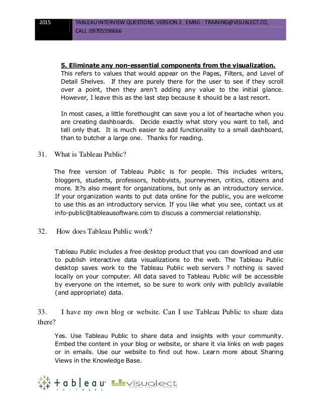 19. 2015 TABLEAU INTERVIEW QUESTIONS.