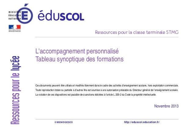 Ressources pour la classe terminale STMG L'accompagnement personnalisé Tableau synoptique des formations Ces documents peu...