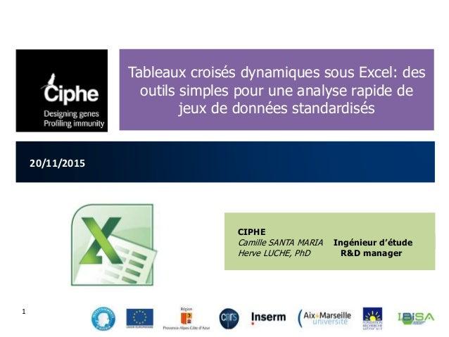 20/11/2015 Tableaux croisés dynamiques sous Excel: des outils simples pour une analyse rapide de jeux de données standardi...