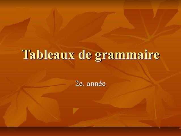 Tableaux de grammaire        2e. année