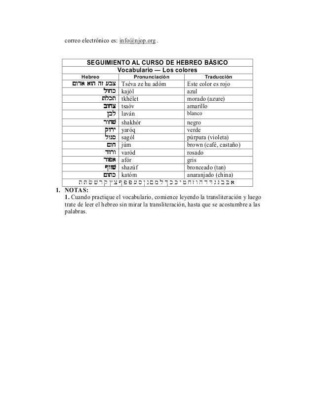 Table De Conversacion Hebreo Español