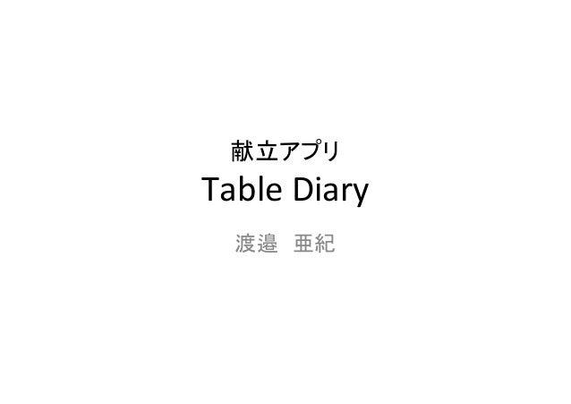 献立アプリ TableDiary 渡邉 亜紀