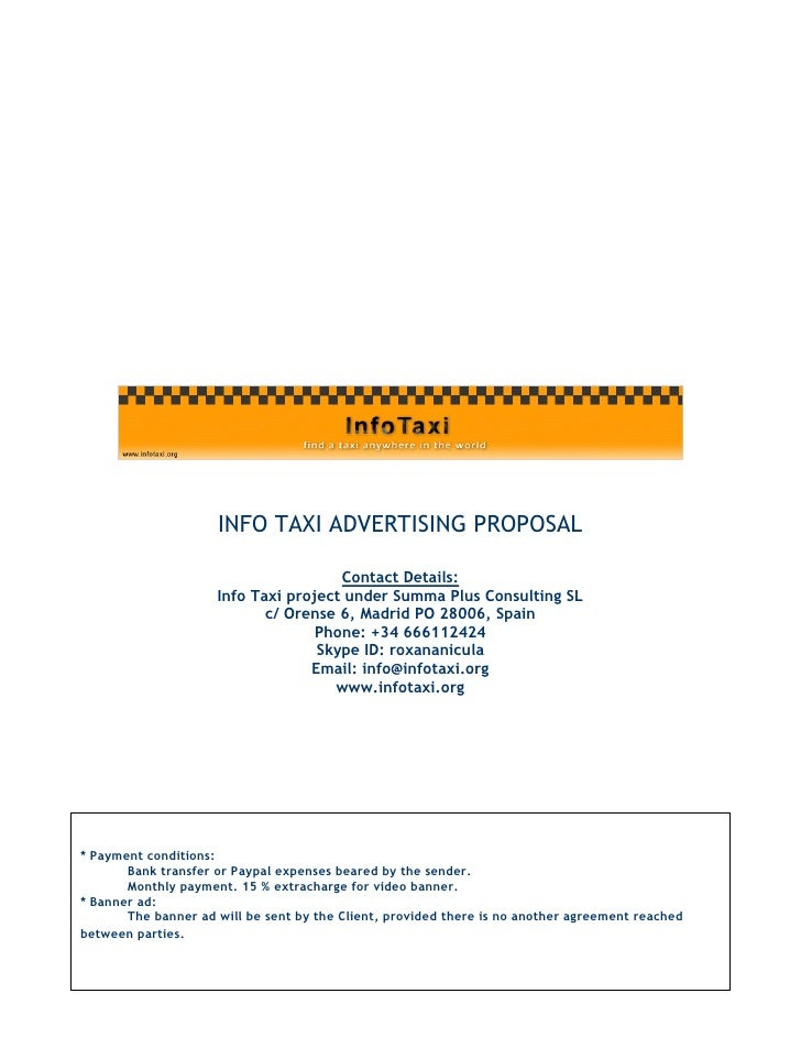 INFO TAXI ADVERTISING PROPOSAL                                        Contact Details:                      Info Taxi proj...
