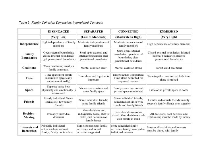 Table 3. Family Cohesion Dimension: Interrelated Concepts                       DISENGAGED                      SEPARATED ...